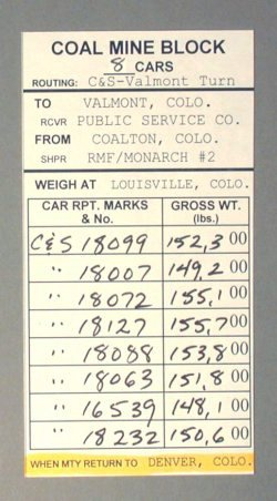 Mine Block Waybill Sample