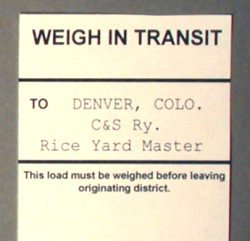 Weigh In Transit Form